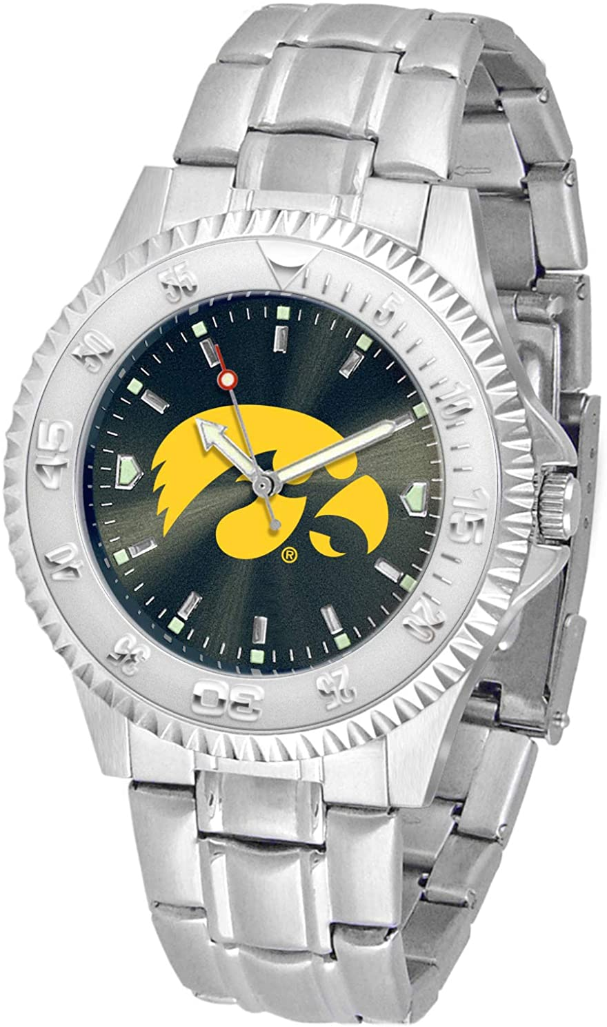 SunTime Iowa Hawkeyes Competitor AnoChrome Men's Watch with Steel Band