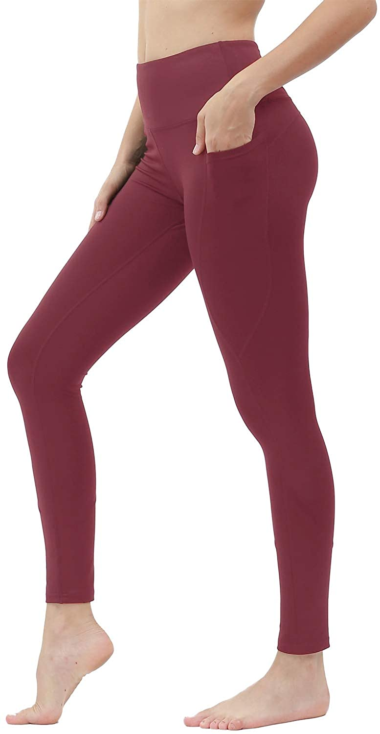 Yoga Pants for Women with Pockets High Waist Workout Running Leggings Red M