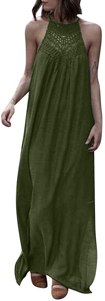HTHJSCO-Dress Women's Summer Crew Neck Sleeveless Racerback and Long Sleeve Loose Plain Maxi Dresses Casual Long Dresses