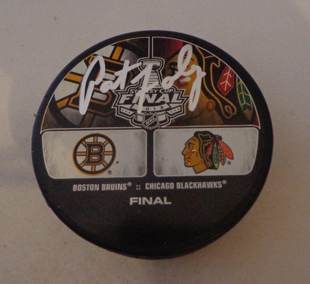 Pat Foley signed Chicago Blackhawks 2013 Stanley Cup Final puck autographed HOF - Autographed NHL Pucks