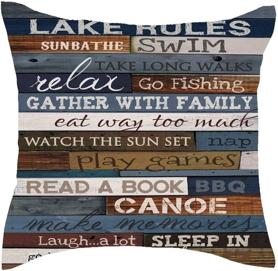 Jimrou Throw Pillow Cover 18x18inches Lake Rules Sunbath Swim Retro Wood Grain Background Cotton Linen Decorative Home Sofa Chair Car Square Throw Pillow Case Cushion Cover