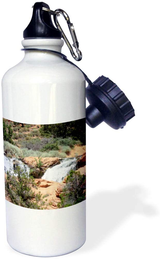 3dRose Jos Fauxtographee- Flowing Water - A Waterfall at Gunlcok Reservior Done in a Smoothing Crosshatch - 21 oz Sports Water Bottle (wb_321204_1)