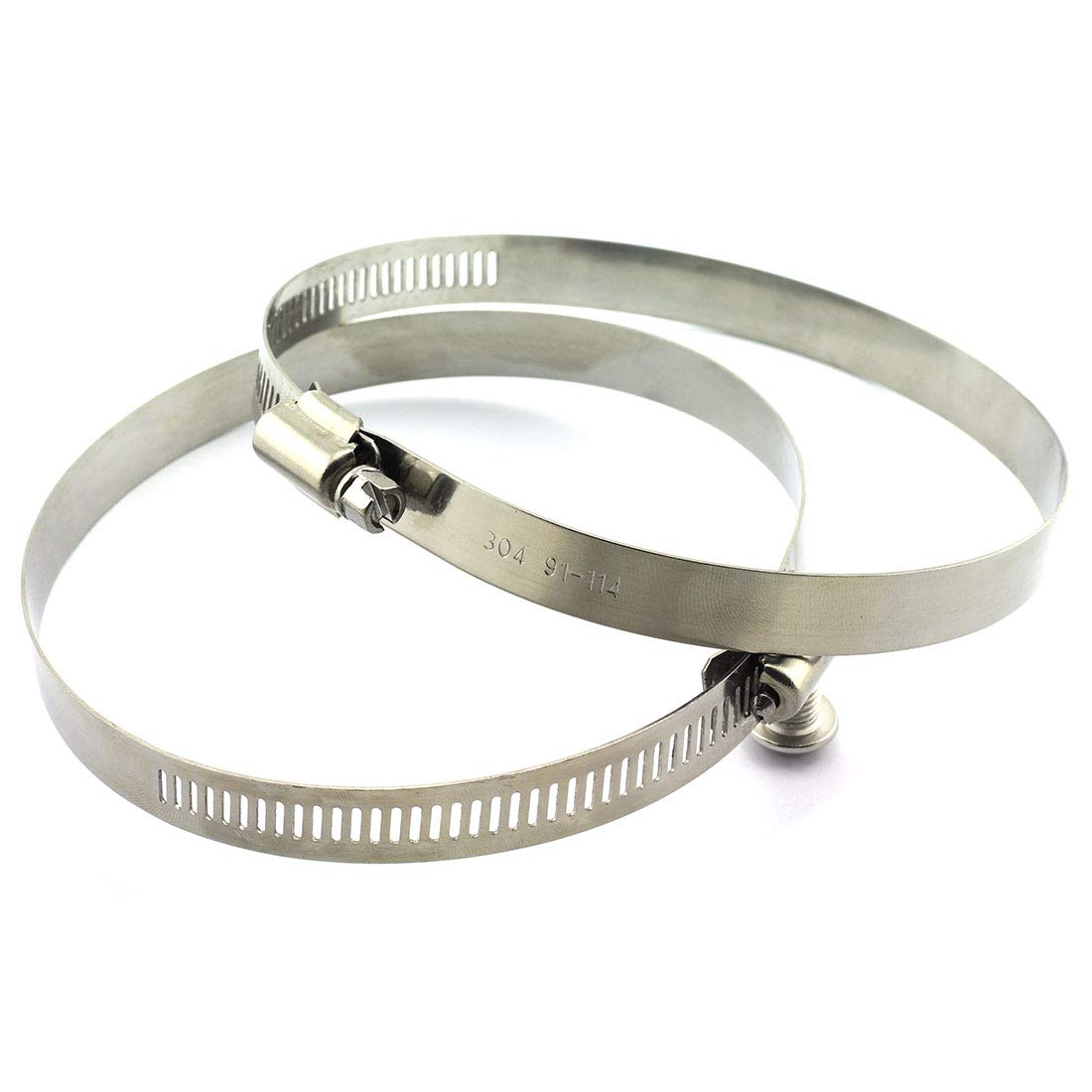 HJ Garden 2pcs 91-114mm 304 Stainless Steel Hose Clamp Adjustable Screw Drive Tube Fastener Fuel Line Hoop Pipe Worm Clip 3-3/5 to 4-1/2 inch