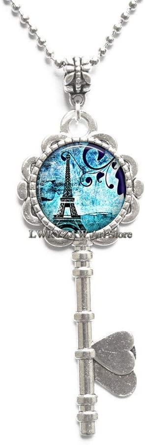Paris Blues Pendant, Paris Key Necklace Paris Jewelry Tower Key Necklace Blue Paris Pendant Traveler's Gift,M382