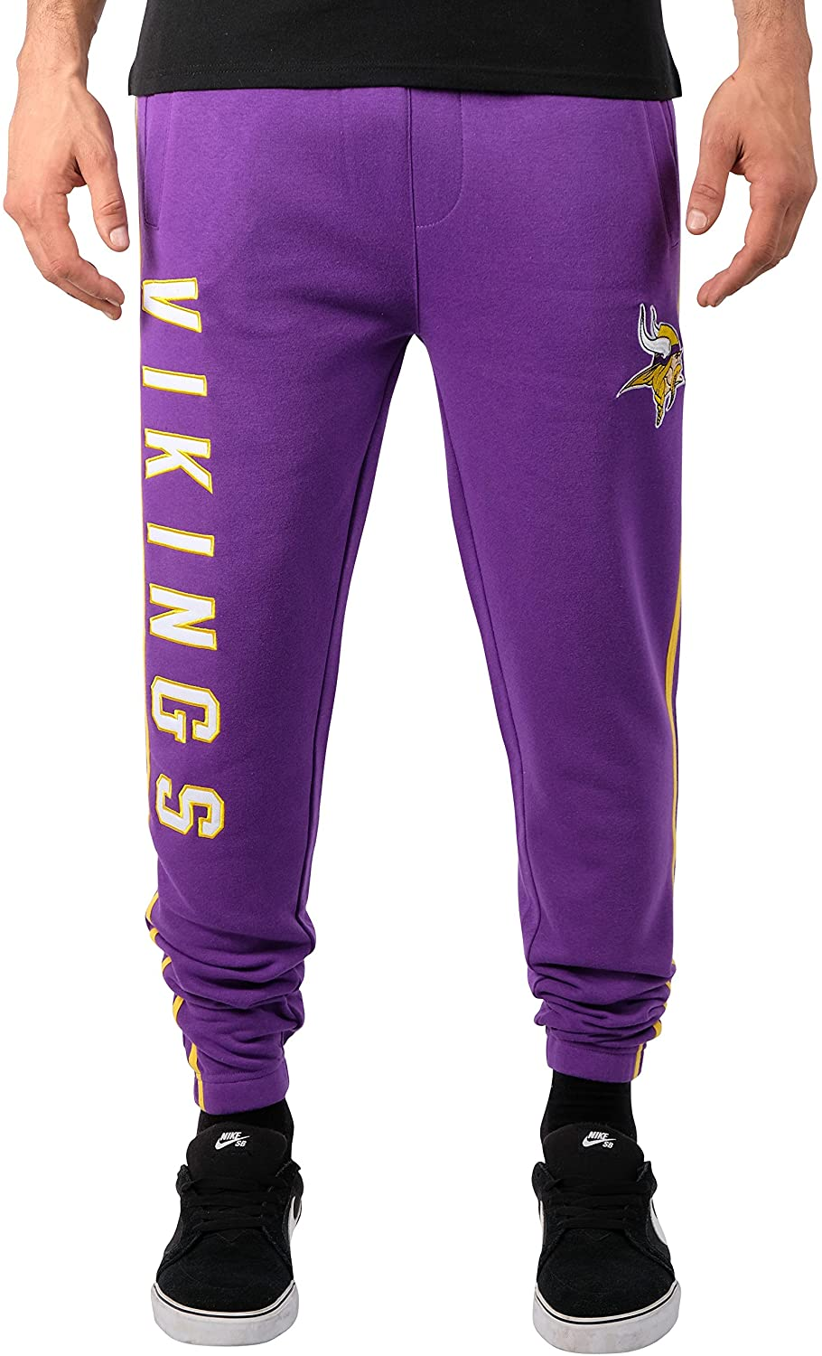 Ultra Game NFL Minnesota Vikings Mens Jogger Pants Active Basic Fleece Sweatpants, Team Color Stripe, X-Large
