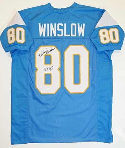 Kellen Winslow Autographed Jersey - Light Blue Pro Style w HOF Wit Auth *8 - JSA Certified - Autographed NFL Jerseys