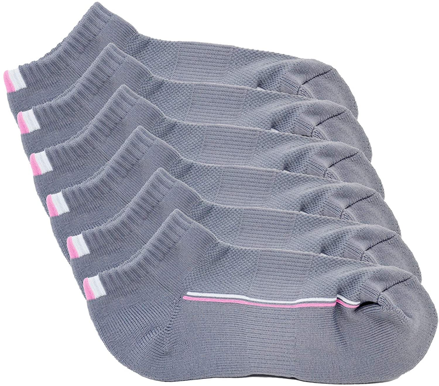DYNAGEAR Womens Cushioned Low Cut Athletic Socks - Moisture Wicking Performance, Pink+White Line Design (Pack of 6 Pairs) – Grey, Medium