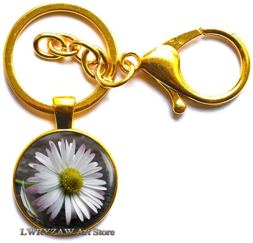 Daisy Flower Key Ring, Daisy Flower Keychain, Nature Jewelry, Botanical Keychain, Daisy Photo Glass Dome Key Ring,M150