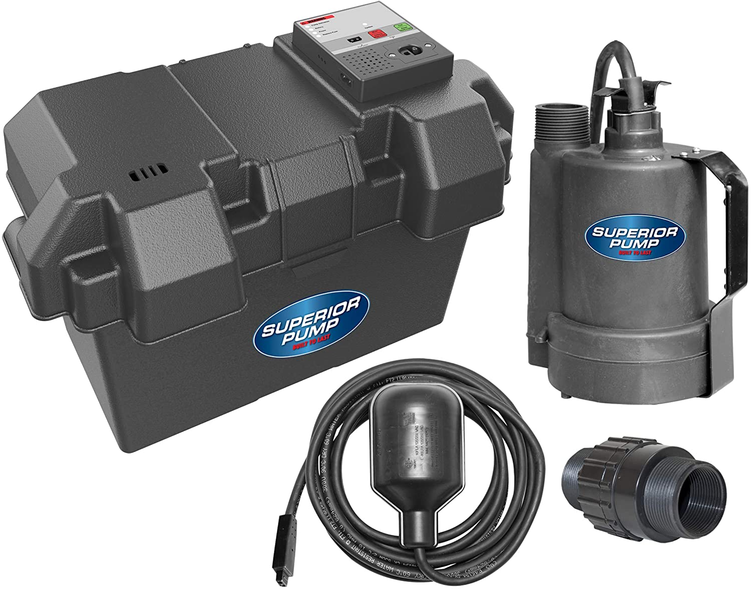 Superior Pump 92900 12V Battery Back Up Submersible Sump Pump with Tethered Switch