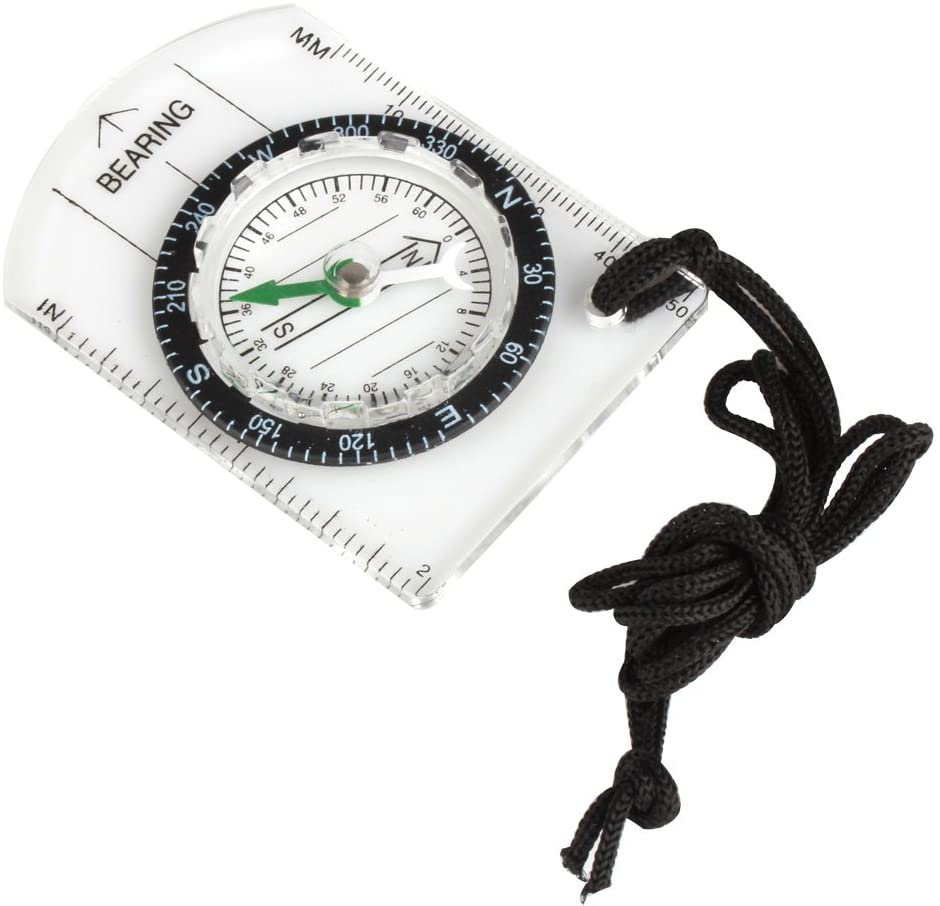 Flexzion Mini Baseplate Compass Pocket Style with MM INCH Measure Ruler and Neck Strap for Outdoor Hiking Camping Boating Map Reading Orienteering Tool in Transparent White