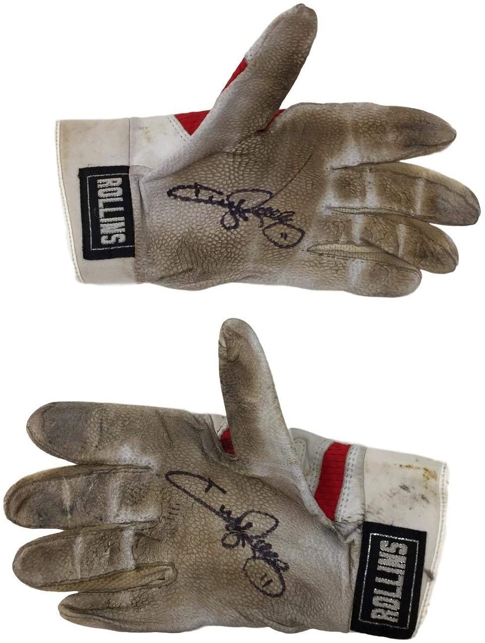 Jimmy Rollins Signed Game Used Philadelphia Phillies Nike Batting Gloves 7 BAS+Rollins LOA