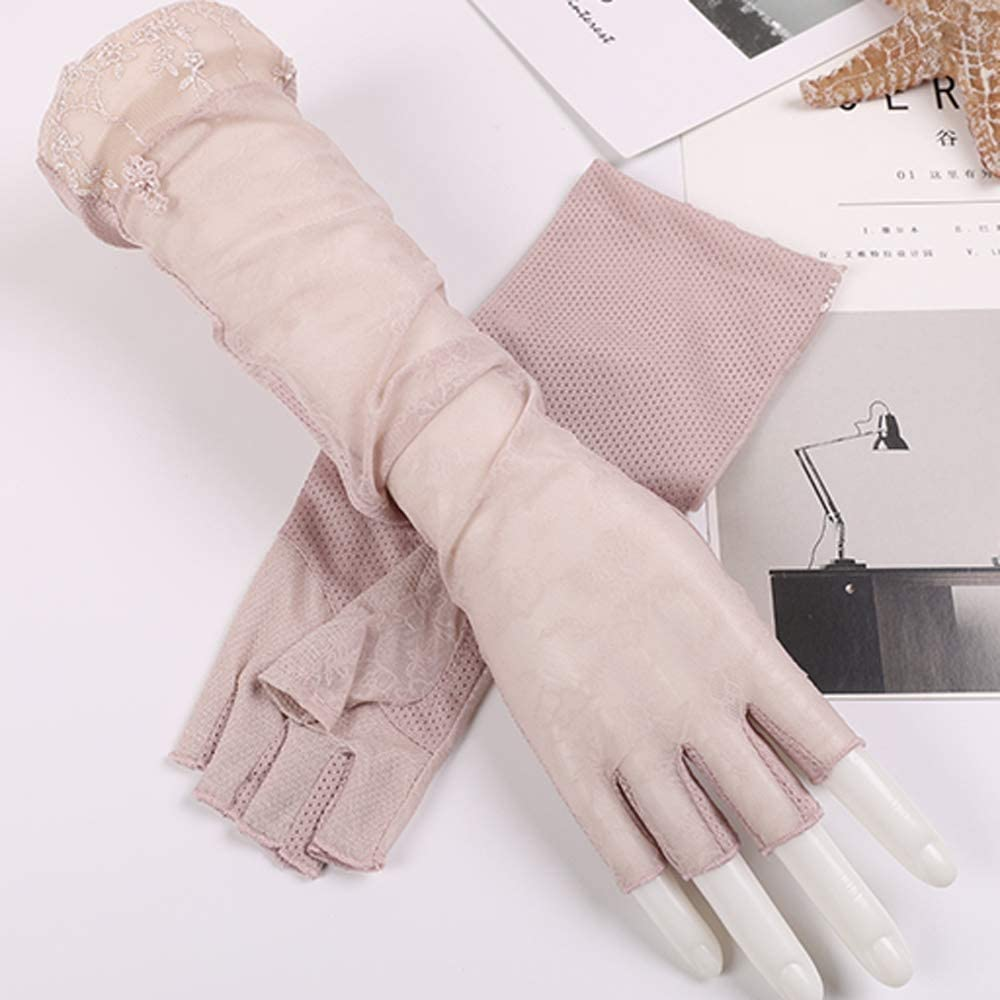Uoyov Spring and Summer Fingerless Driving Outdoor Sun Protection Gloves Arm Guard Hand Sleeve Sleeve Arm Sleeve UV Protection Lace Ice Cotton Half Finger Sleeve Female