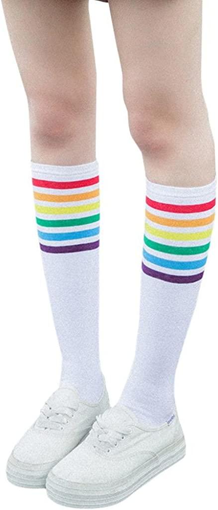 SANNYSIS Thigh High Socks Over Knee Rainbow Stripe Girls Football Sport Socks 26.0