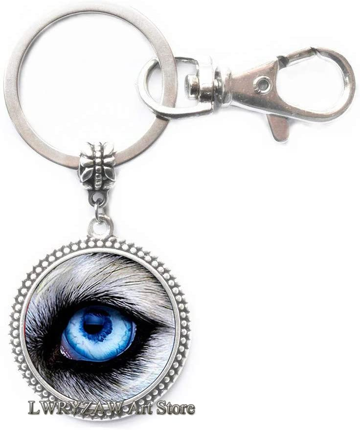 Wolf Eye Keychain,Wolf Eye Jewelry Keychain Wearable Art Key Ring Charm Wolf Key Ring Charm,Animal Keychain,M175