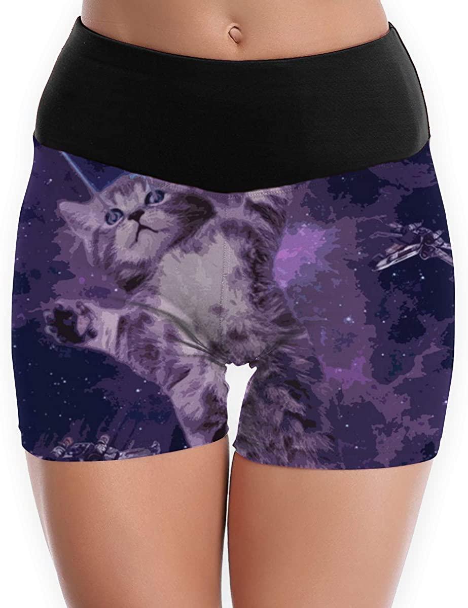 Women Yoga Shorts Pants Space Laser Eyes Cat High Waist Workout Running Legging