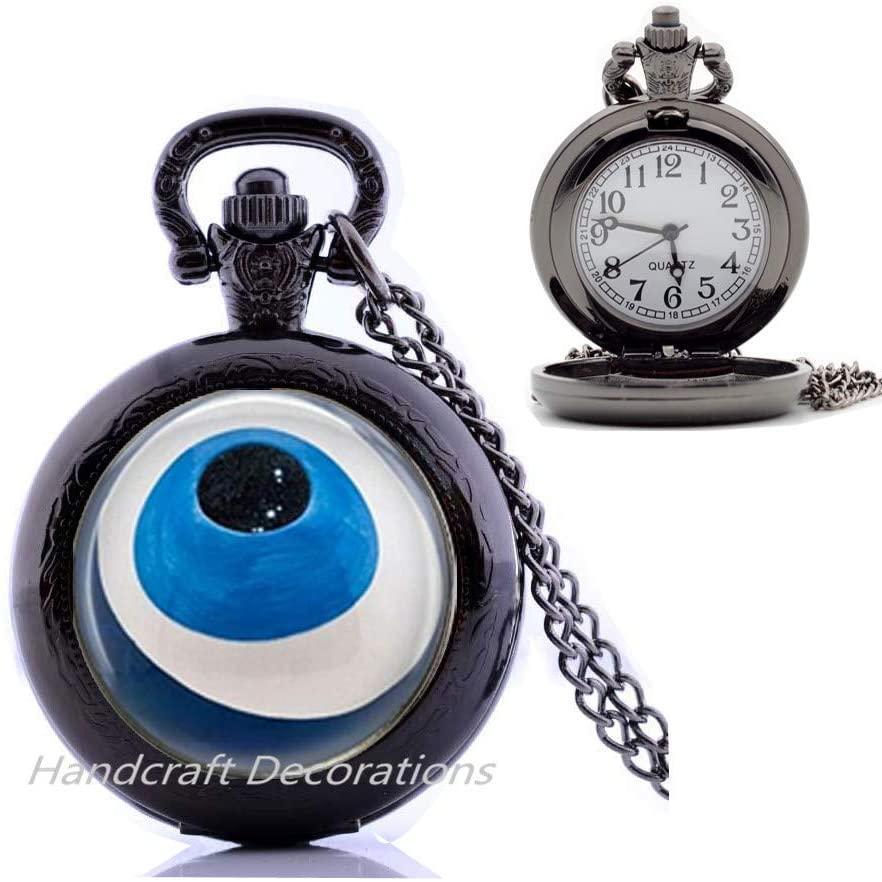 Simple eye Pocket Watch Necklace,Charm Pocket Watch Necklace,Eye Pocket Watch Necklace,Dainty Pocket Watch Necklace,art jewelry glass jewelry Best friend Pocket Watch Necklace.F247