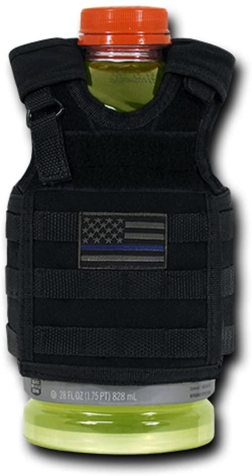 USA US American Flag Tactical Patriotic Tactical Vest Beer Military Bottle Can Cooler Keeper Holder Sleeve Beverage Carrier (T98 - Deluxe, Black TBL)