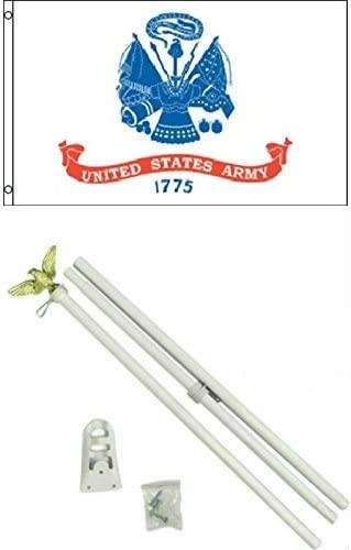 2x3 2'x3' Army White Flag White Pole Kit