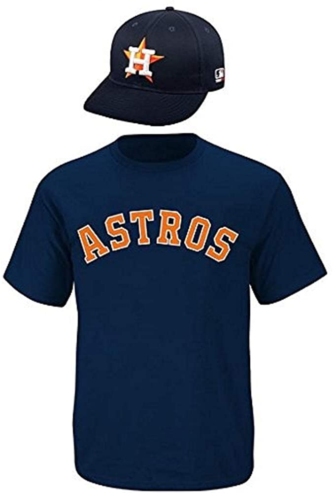 Majestic Houston Astros Cap & Jersey Licensed Replica Combo Hat/Tee Set (10 Youth/Adult Sizes) (Adult Cap/Adult 2XL Jersey)