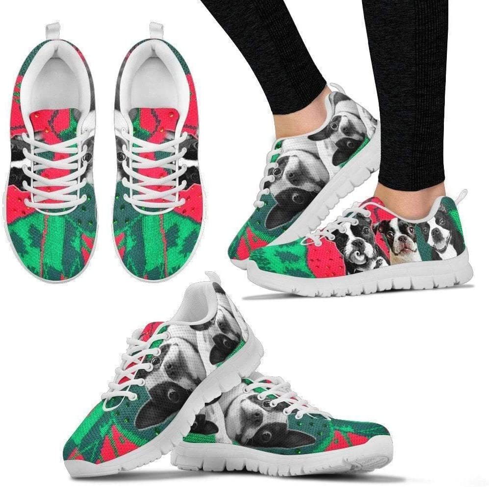 Paws With Attitude Boston Terrier Christmas Running Shoes for Women