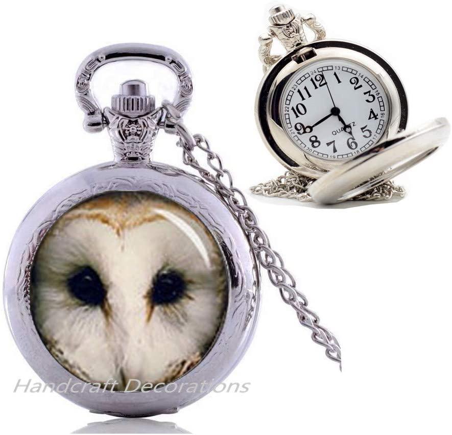 HandcraftDecorations OWL Pocket Watch Necklace Pendant Owl Pocket Watch Necklace Art Image Antique Writing Handmade Glass Pendant Owl Jewerly.F223