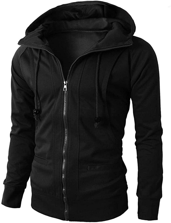 Men's Sweatshirt Spring Cardigan Skinny Hoodie Thin Fleece Long Sleeve Jacket