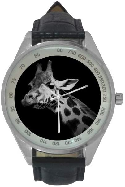 QUICKMUGS2U Mysterious Animal Series Giraffe Men's Leather Strap Analog Quartz Watch Wrist Business Casual Watch for Men
