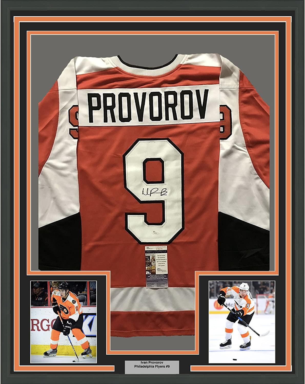 Framed Autographed/Signed Ivan Provorov 33x42 Philadelphia Orange Hockey Jersey JSA COA