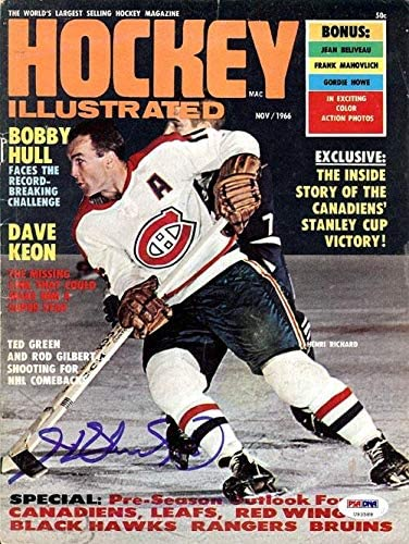 Henri Richard Autographed Hockey Illustrated Magazine Cover Montreal Canadiens #U93588 - PSA/DNA Certified
