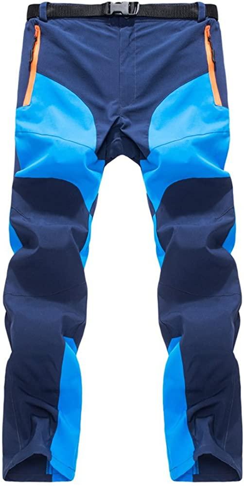 K-mover Men's Outdoor Lightweight Waterproof Hiking Mountain Quick-Dry Pants with Belt