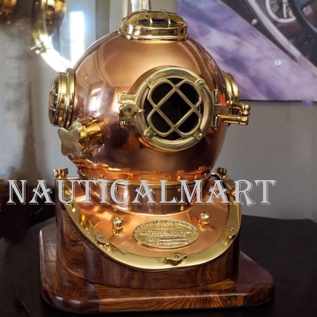 NauticalMart Diving Divers Helmet Us Navy Mark V Helmet Solid Copper & Brass with Base Antique