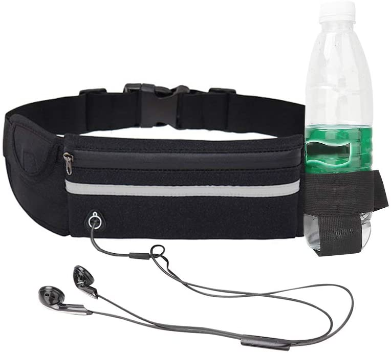 Rehomy Running Belt Waist Pack, Outdoor Multifunction Waterproof Fanny Pack, Adjustable Reflective Runners Belt with Headphone Hole and Money Holder