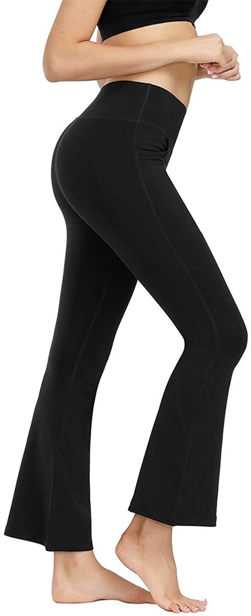 Kyopp Women's Bootcut Yoga Pants with Pocket Stretch Tummy Control Workout Running Pants Straight Leg Dress Pants