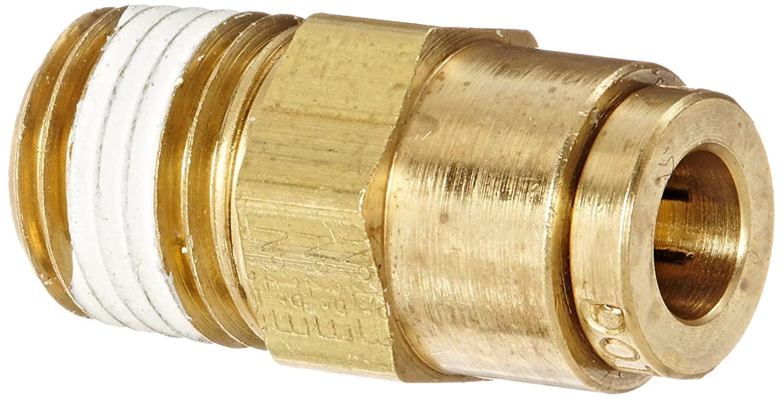 Eaton Weatherhead 1868X4X4 Brass CA360 D.O.T. Air Brake Tube Fitting, Male Connector, 1/4