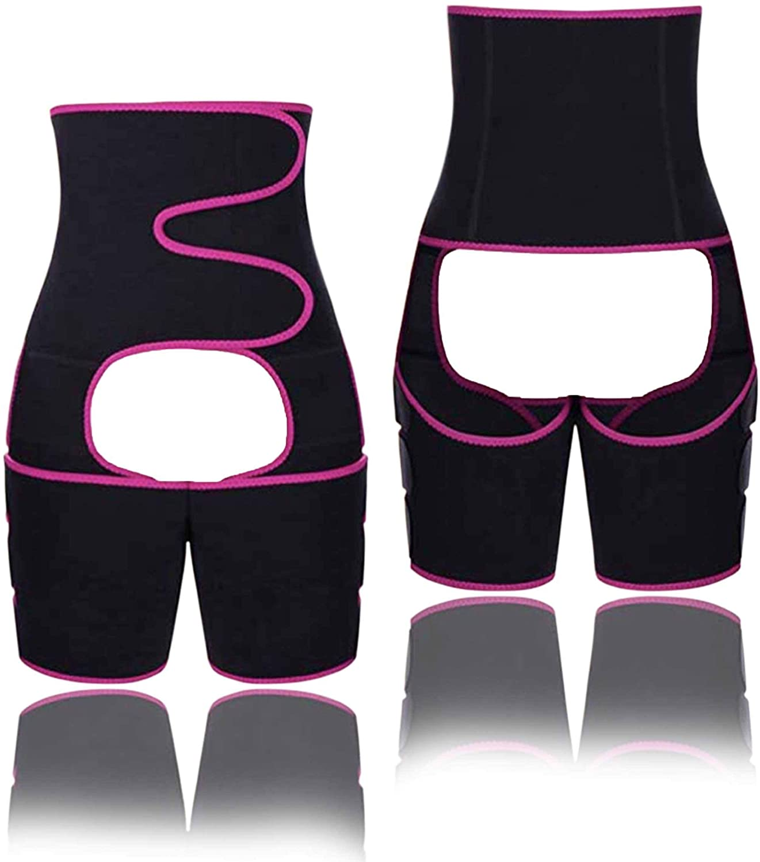 Gear District Waist & Thigh Trainer - Waist Trainer for Women - Fitness Belt Trimmer - Lightweight & Comfortable Design - Perfect for Weight Loss Workout Training - Slimming Sweatband