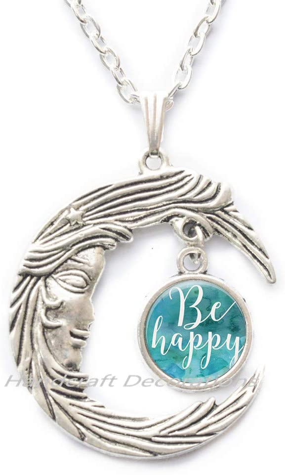 HandcraftDecorations Be Happy Necklace,Happy Necklace,Inspirational Jewelry,Happy Necklace,Inspirational Quote Image Pendant.F120
