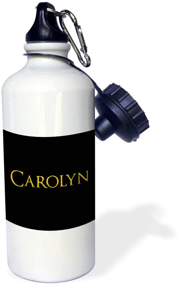 3dRose Alexis Design - Popular Female Names in USA - Carolyn Popular Woman Name in The America. Yellow on Black Gift - 21 oz Sports Water Bottle (wb_323684_1)