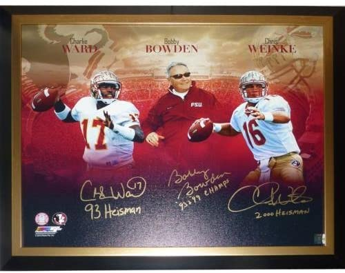 Bobby Bowden, Charlie Ward And Chris Weinke Autographed FSU Florida State Seminoles (Collage) 2430 Stretched Giclee Canvas w/ 3 Inscriptions