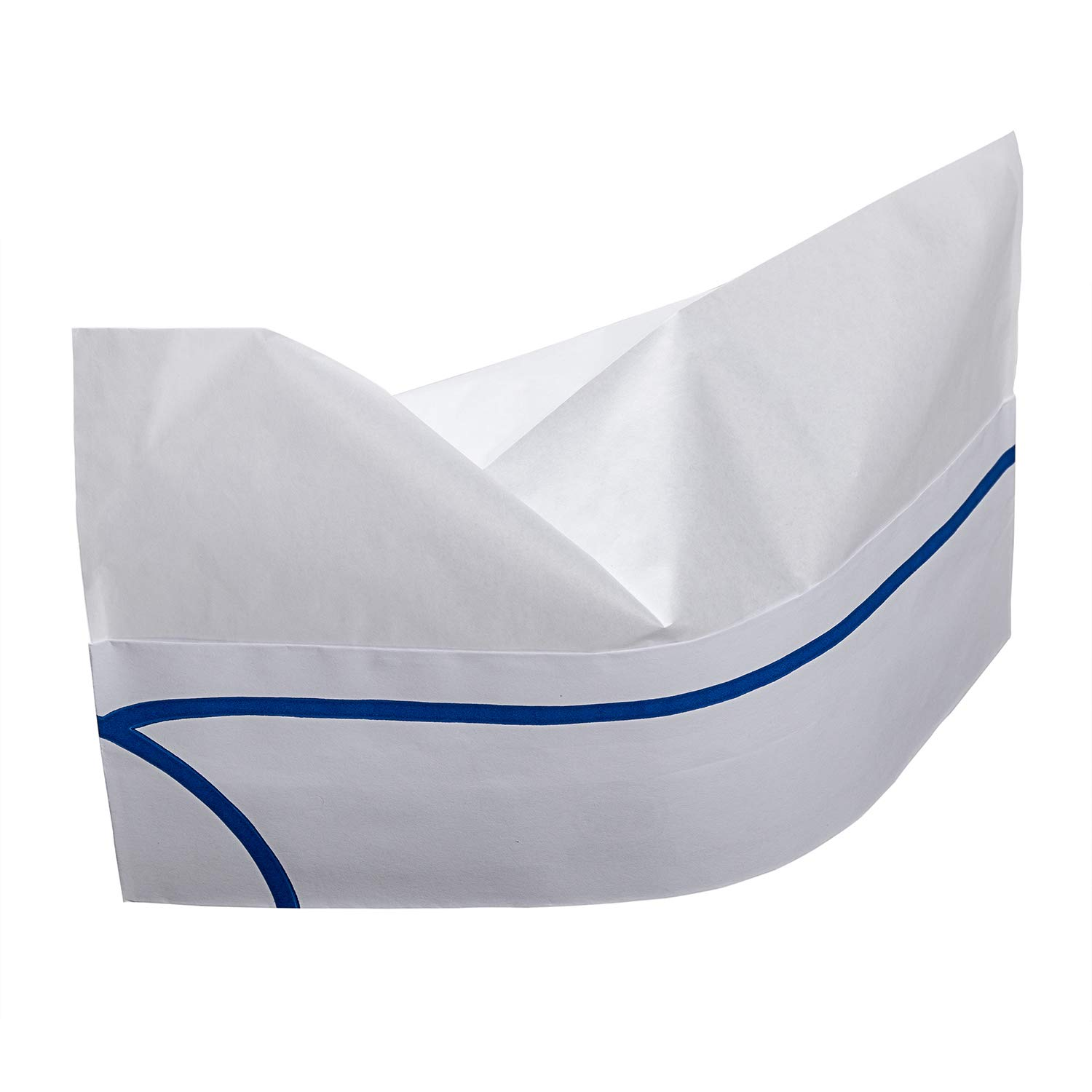 Royal Blue Striped Disposable Overseas Caps, Package of 100