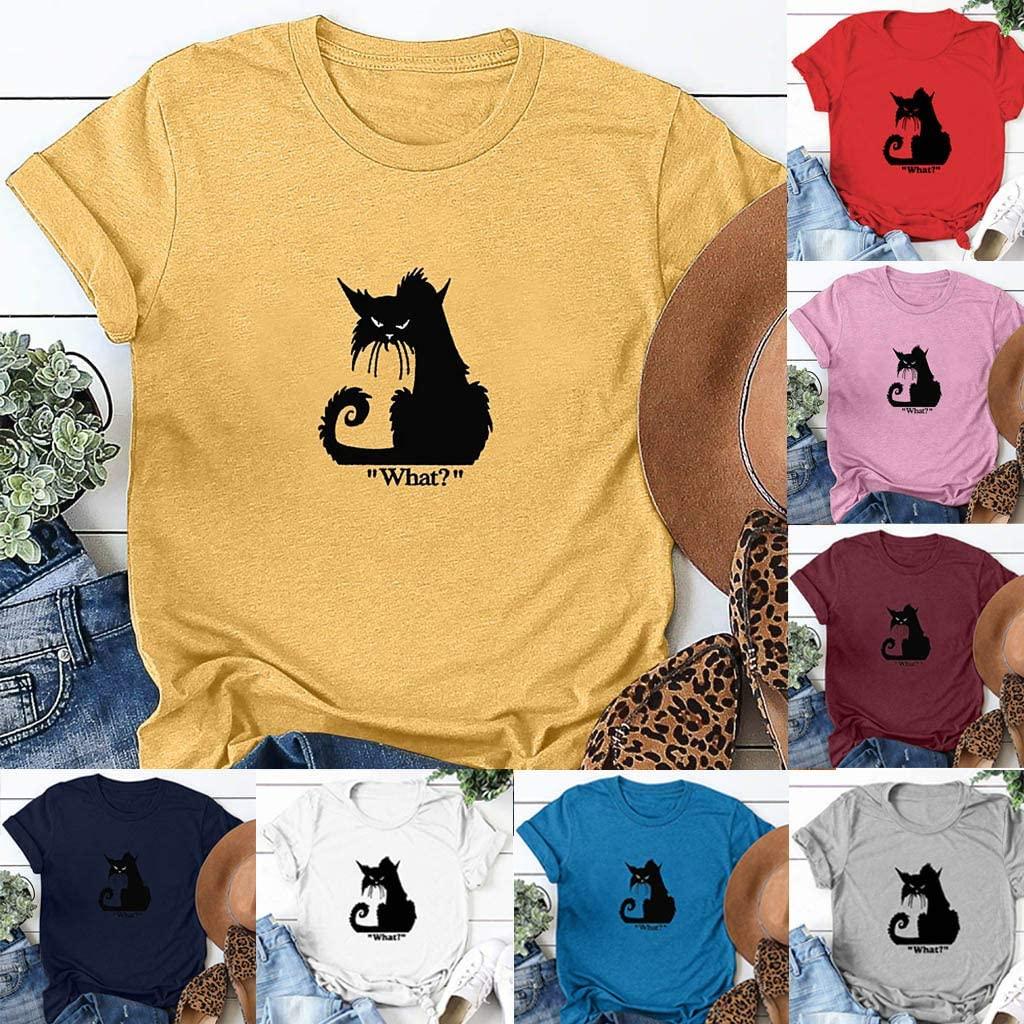 Daorokanduhp Women's Halloween Casual Black Cat Letter Print T-Shirt O-Neck Short Sleeve Top Blouse