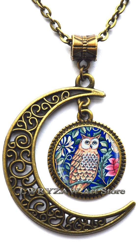 Blue Owl Necklace,Blue Owl Jewelry, Victorian Art Necklace, Owl Pendant, Blue owl Pendant,Simple Necklace,Handmade Necklace,M135