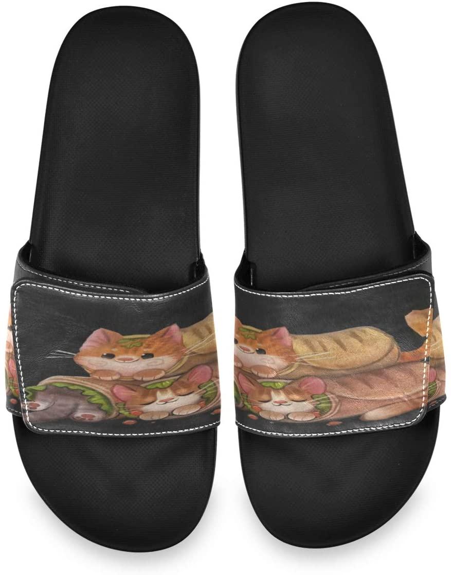 Cat Burrito Mens Leather Slide Sandals Summer House Velcro Slippers Casual Boys