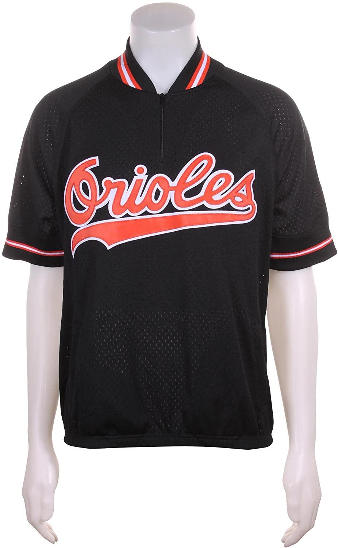 Mitchell & Ness Cal Ripken Jr Baltimore Orioles #8 Men's 1/4 Zip Mesh Batting Practice Jersey