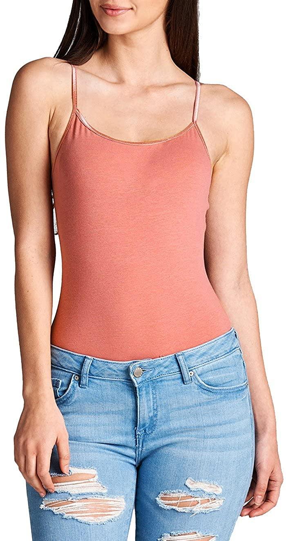 Hollywood Star Fashion Womens Snap Crotch Thin Strap Leotard Bodysuit Camisole (Small, Dusty Salmon)