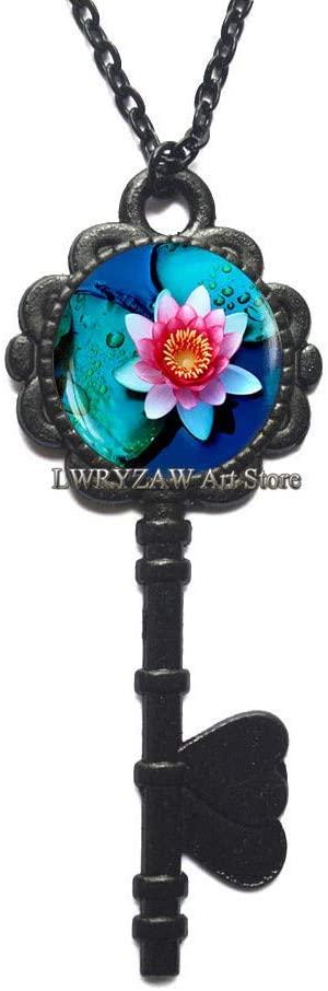 Lotus Pendant, Lotus Flower Key Necklace, Lotus Jewelry, Pink Lotus Photo Key Necklace, Yoga Lotus Chakra Key Necklace,M99