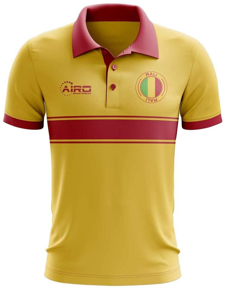 Airosportswear Mali Concept Stripe Polo Football Soccer T-Shirt Jersey (Yellow) - Kids