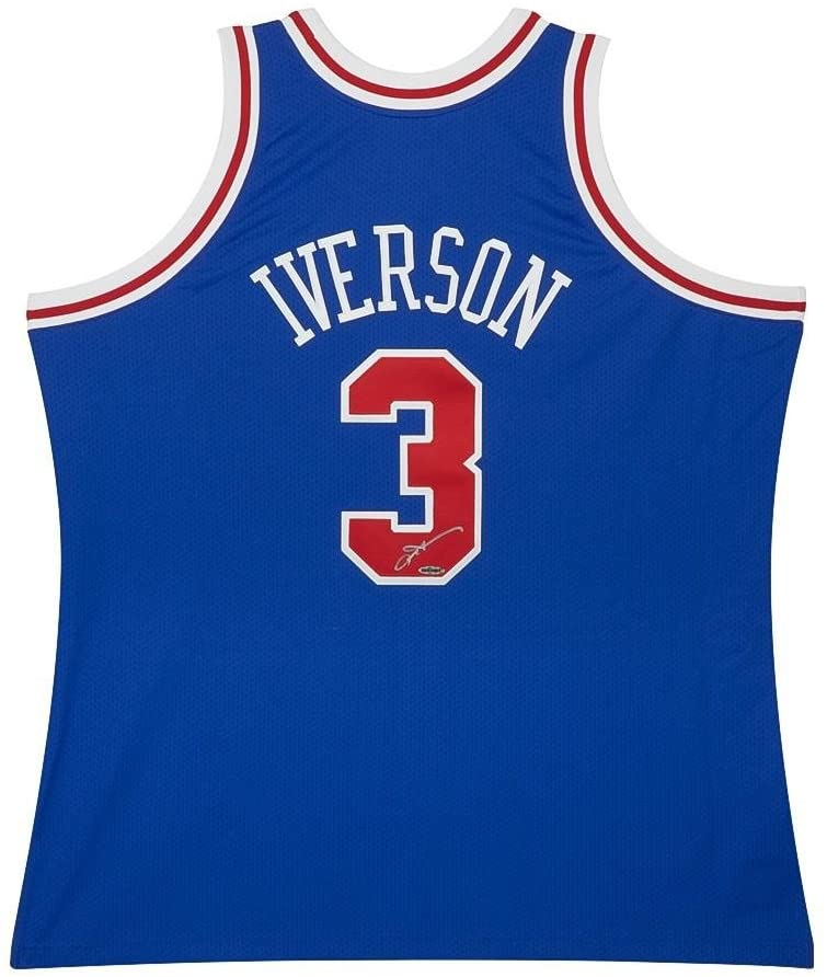 Allen Iverson Autographed Jersey - Mitchell & Ness 1996 97 Blue - Upper Deck Certified - Autographed NBA Jerseys