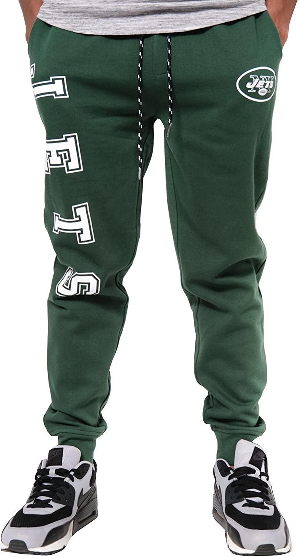 Ultra Game NFL New York Jets Mens Jogger Pants Active Basic Fleece Sweatpants, Team Color, Medium