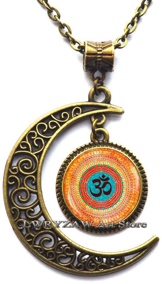 Boho Om Necklace, Yoga Meditation Pendant, Spiritual Yoga Jewelry Gift, Buddhist Amulet Necklace, om Pendant,M64