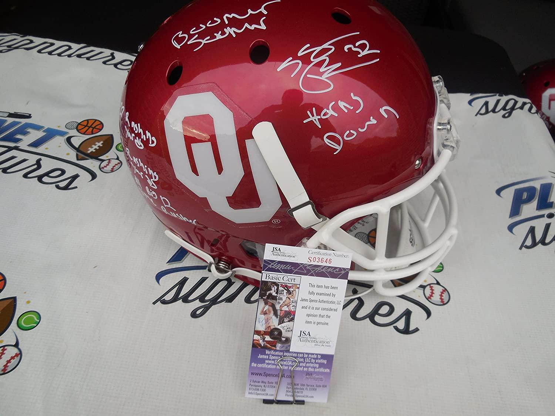 Samaje Perine Signed Oklahoma OU Sooners Full Size Helmet with STATS JSA COA